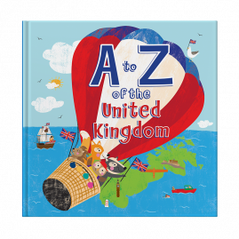 A to Z of the United Kingdom hardback children's story book and wall poster written by Jo and Hugh Evans and illustrated by Liza Lewis by from you to me
