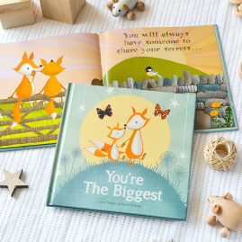 You're The Biggest hardback children's keepsake gift book celebrating becoming a big brother or sister on the arrival of a new baby by from you to me