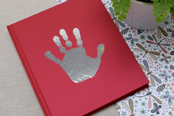 Personalised Foil Handprint red notebook